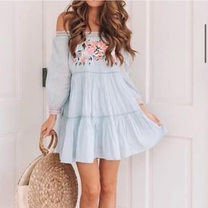 Free People Sky Blue Sunbeams Mini Dress